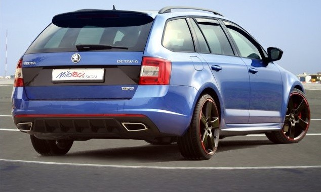 "diffuser of rear bumper abs black glossy ""piano"", Škoda octavia iii"