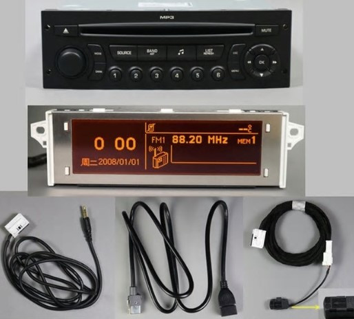Led Lights For Cars >> RD45 Car Radio USB, AUX, Bluetooth for Peugeot 207, 206 ...