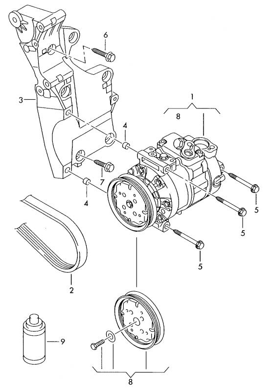 oem 5k0820803c sanden clima compressor vw  skoda  seat for